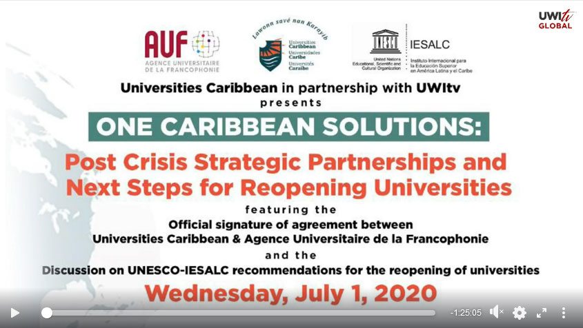 One Caribbean Solutions: Post Crisis Strategic Partnership and Next Steps for Reopening Universities flyer